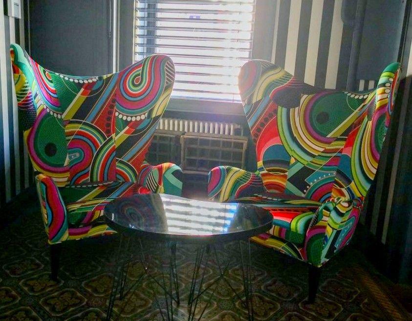 Medici imprimé wax fauteuil eagle Aux copains d'abord Bourg en Bresse